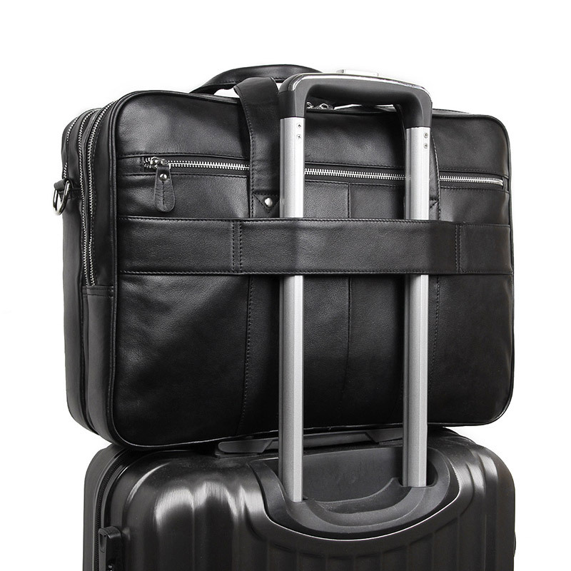 Bolsa de maletín para hombre de alta calidad, bolsa de negocios, para ordenador de 17 pulgadas, negra, marrón, nueva moda, para hombre - 3