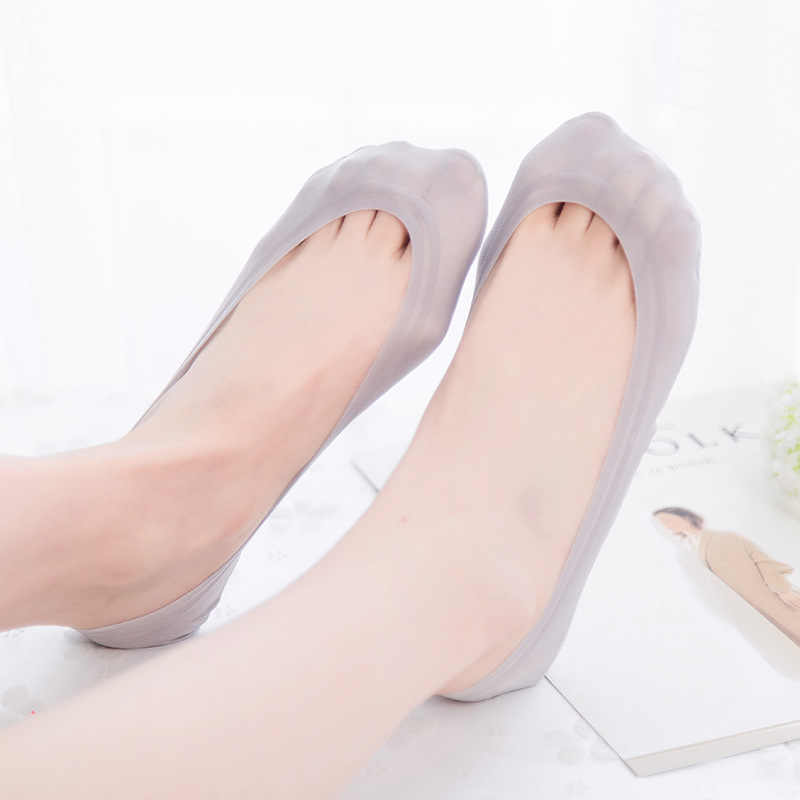 3D Massage Chăm Sóc Sức Khỏe Nữ Mùa Hè Tất Băng Lụa Tất Dẹt Silica Gel Chống Tắt Vô Hình Sock Dép