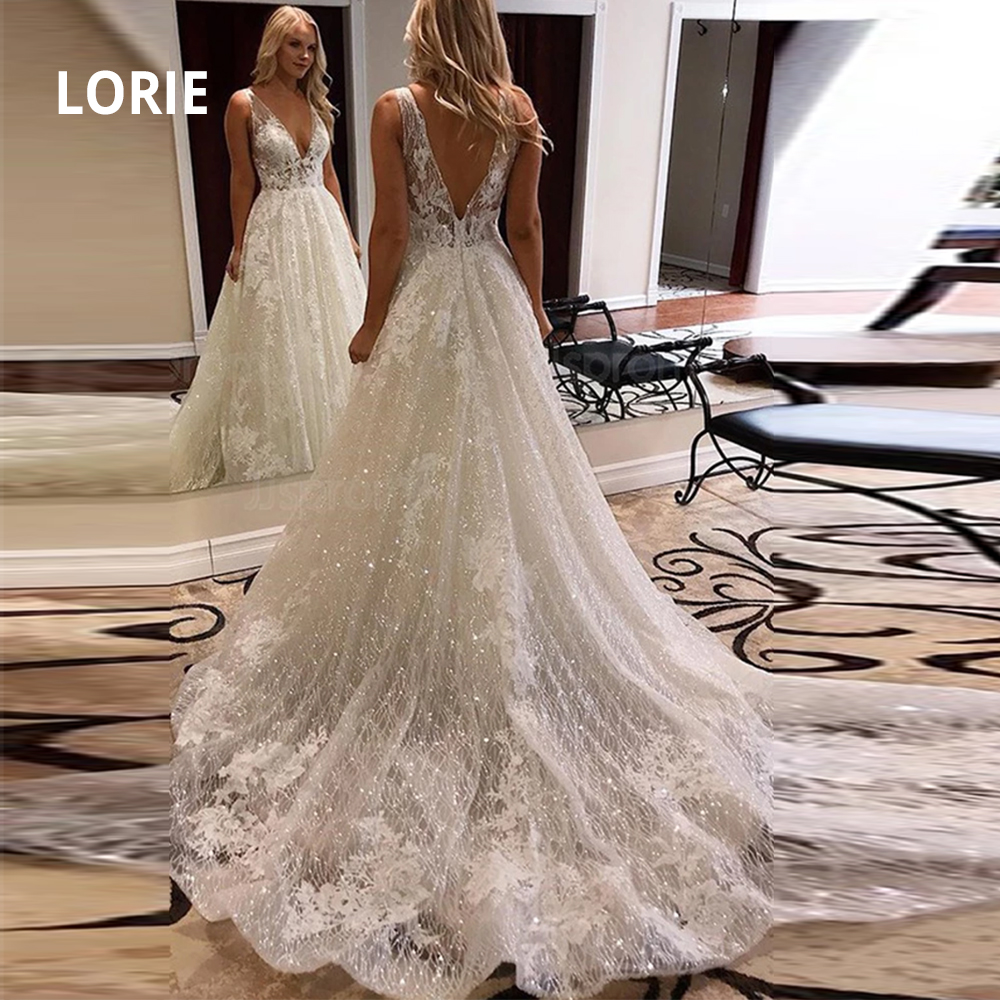 LORIE Luxurious V Neck Open Back Ivory Lace Wedding Dresses Popular Shiny Tulle Beach Bridal Dresses Wedding Party Gowns