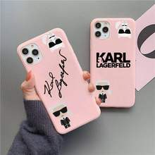 Lagerfeld designer karls caso de telefone para iphone 12 11 pro max mini xs 8 7 6s plus x se 2020 xr fosco doces rosa silicone capa