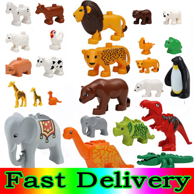 Duploed Building Blocks Animals Series Big Black Cat Dog Lion And Tiger Elephant With Toys For Childrens Kids Party Gift