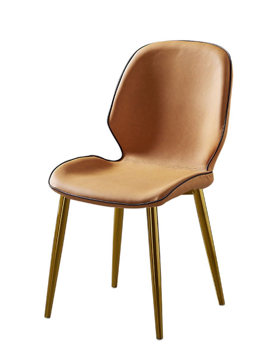 Nordic Chair, Backrest, Stool, Household Dining  Simple Leather Industrial Wind  Iron Bedroom, Small  Leisure