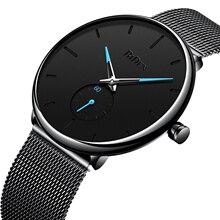BIDEN Male Watch Clock Simplicity Modern Quartz Wristwatch Casual Men's Water Resistant Black Mesh Steel Clock Eerkek Kol Saati стоимость