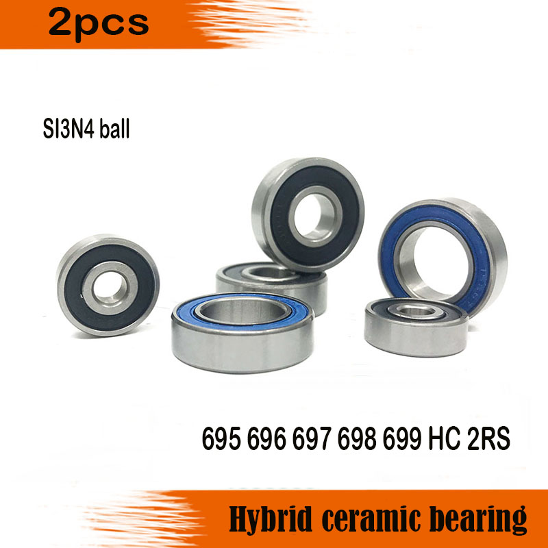 2PCS 694 695 696 697 698 699 2RS RS HC Steel Hybrid Ceramic Bearings Bike Bearing si3n4 balls image