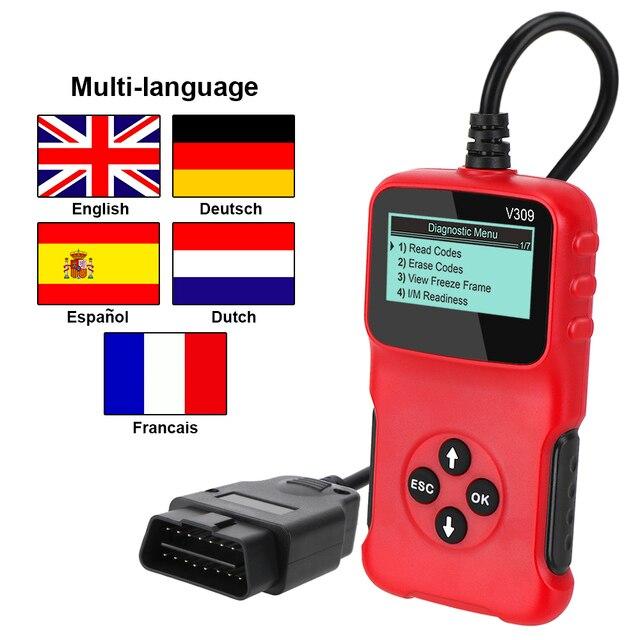V309 OBD2 Code Reader OBD 2 Scanner OBDII Car Diagnostic Tool Plug and Play Digital Display Auto Accessories ELM 327