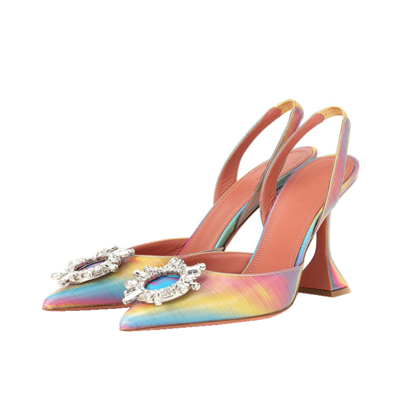 Free Shipping fashion rainbow patent leather crystal strass point toe slingback high heels sandals shoes