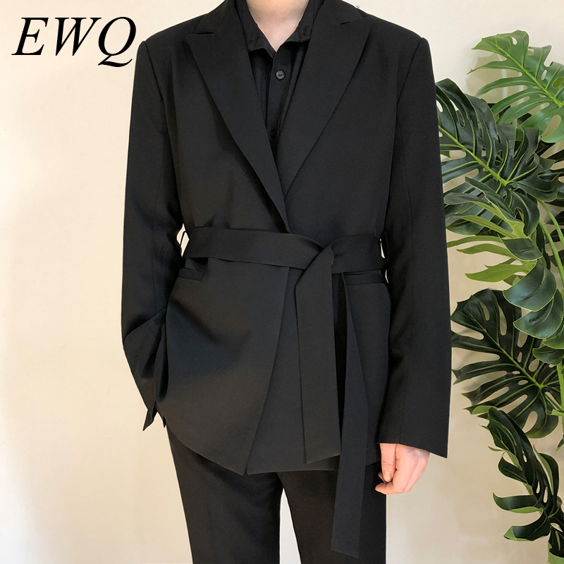 EWQ / Men's Wear 2020 Spring Casual Black Suit Loose Coat Self-cultivation Trend Handsome Small Blazers With Belt Design 9Y90001