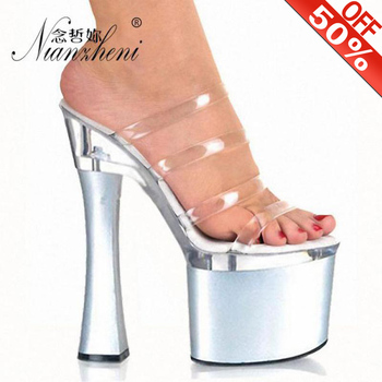 HOT Fashion 8 Inch Spool Heels High Heel Shoes With 8 Inch Clear Platforms Strappy Sexy Slippers 15cm High Heels Crystal Sandals