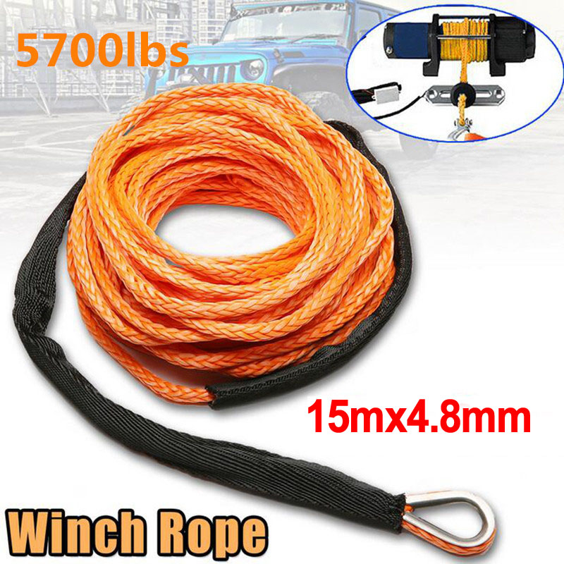5700lbs Car Emergency Trailer Belt  Vehicle Winch Cable Synthetic SUV Recovery Replacement Towing Rope Outdoor Accessories