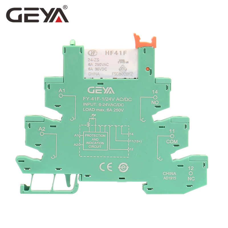 GEYA Slim Module Relay Bảo Vệ Mạch 6A Tiếp 12VDC/AC Hoặc 24VDC/AC Tiếp Ổ Cắm 6.2 Mm Độ Dày