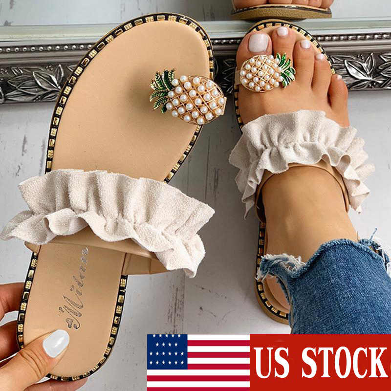 Hot Ladies Sandal Summer Casual Sandals Women Flat Toe Pineapple Pearl Bohemian Casual Shoes Flat Beach Sandal Slippers Sandalia