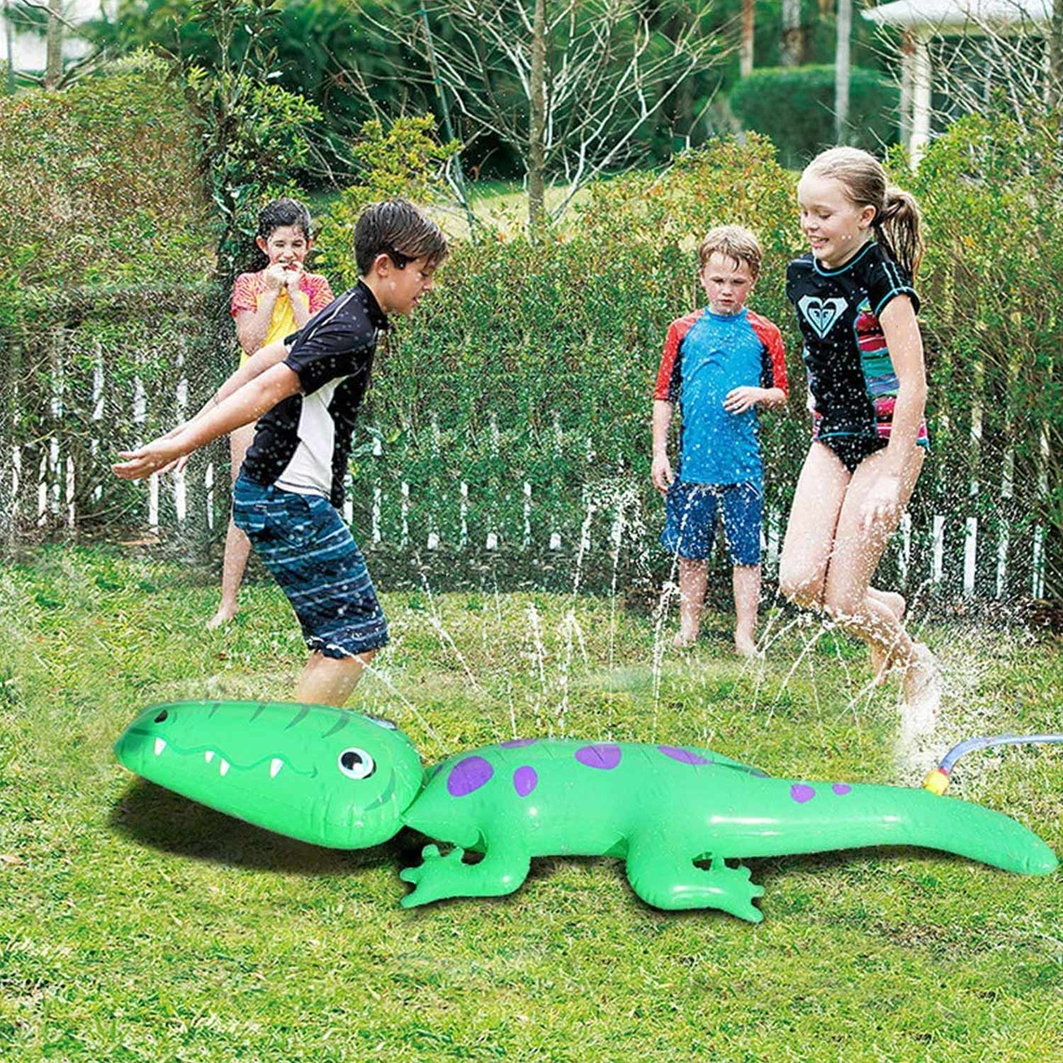 Inflatable Crocodile Water Sprinkler Outdoor Summer Spray Sprinkle Toy For Kids Children Backyard Beach Swimming Pool Sport Game