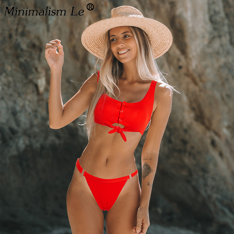 Solid Bikini Set Women Sexy Button Tankini Swimsuit New Bow Bandage Swimwear Low Waist Bathing Suit High Cut Beachwear Biquini