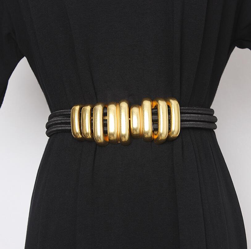 Women's Runway Fashion Gold Metal Elastic Cummerbunds Female Dress Corsets Waistband Belts Decoration Wide Belt R2617
