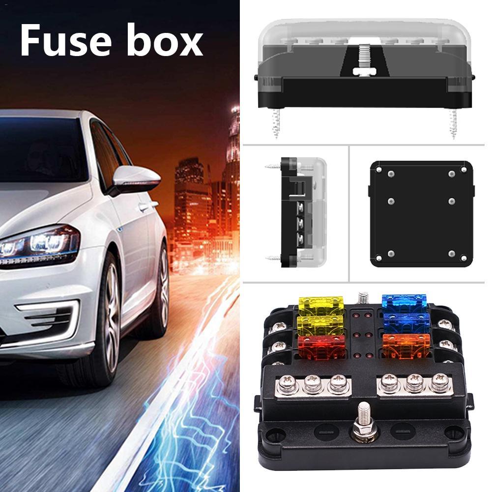6 voies fusible boîte de support voiture véhicule Circuit lame fusible boîte bloc avec indicateur LED fusible indépendant positif négatif pour voiture 32V