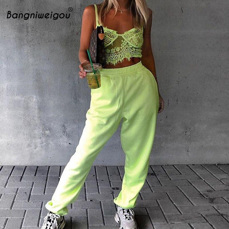 Bangniweigou Streetwear Cargo Pants Women Casual Joggers Neon Green Orange Pants High Waist Loose Trousers Female Autumn Picks