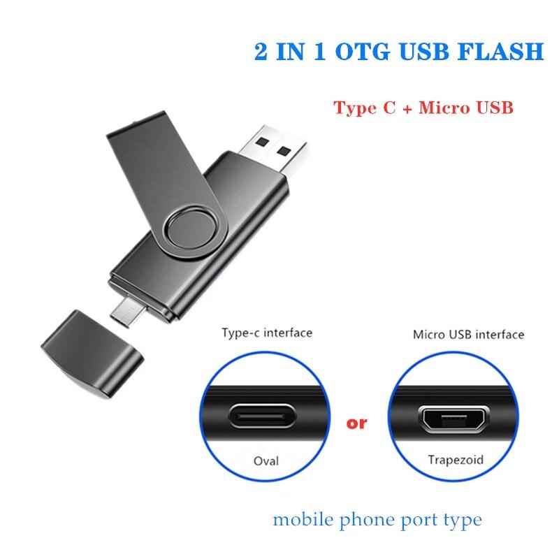 Micro Usb Or Type C Interface Memory Flash 32GB 64GB 128gb  Usb Flash Drive Memory Stick Pendrive