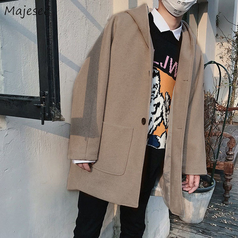 Wool Men Mid-long Winter Thickening Coat Hooded All-match Plus Size 3XL Big Pockets All-match Streetwear Mens Overcoat Fashion