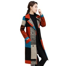 Female Woolen Coat 2019 Autumn Winter Retro Plaid Printing Breasted Turn-down Collar Pocket Women