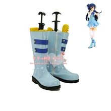 Anime LoveLive! Start dash!! Sonoda Umi Cosplay Shoes Blue PU Leather Boots Zipper-up Women Halloween Party