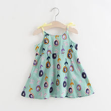 Kids Baby Girls Cartoon Floral Sleeveless Strap Princess Dress Outfits Summer Fashion Children's Dress(China)