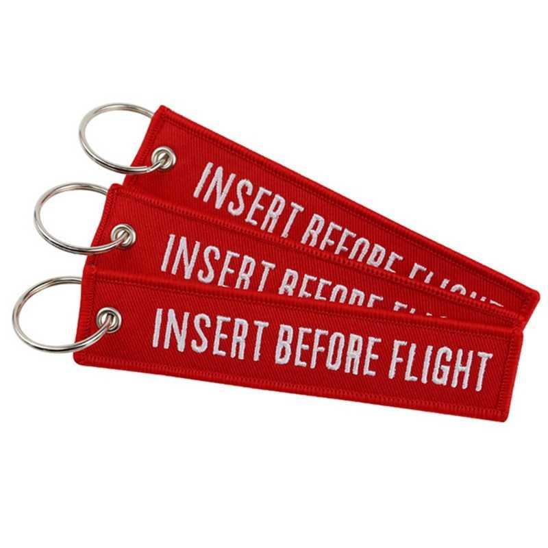INSERT BEFOR VLUCHT Vliegtuigen Borduur Reizen Bagage Tas Tag Beste Gift Voor Flight Crew Luchtvaart Sleutelhanger