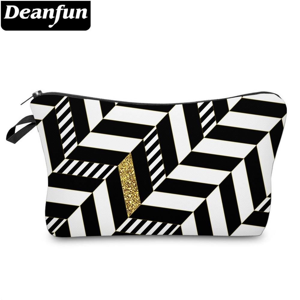 Deanfun Cosmetic Bags 3D Printed Striped Bags Zipper Cosmetic Bag Waterproof Makeup Bag 51955