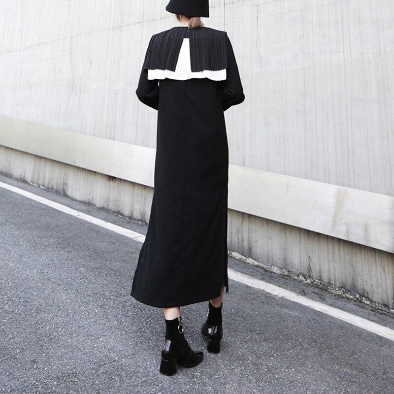 TVVOVVIN femmes noir plissé Joint longue robe nouveau col rond manches longues lâche Fit mode marée printemps automne 2019 D358 - 5
