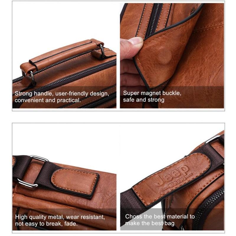 Image 5 - JEEP BULUO Mens Crossbody Shoulder Bags Big Size Split Leather  Handbag Fashion Business Man Messenger Bag High quality Tote Hot  -