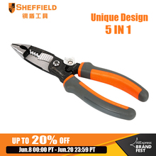 SHEFFIELD 8 inches 5 in 1 Multifunctional Electrician pliers electrical needle nose pliers Wire Stripper Crimping 5 in 1 pliers