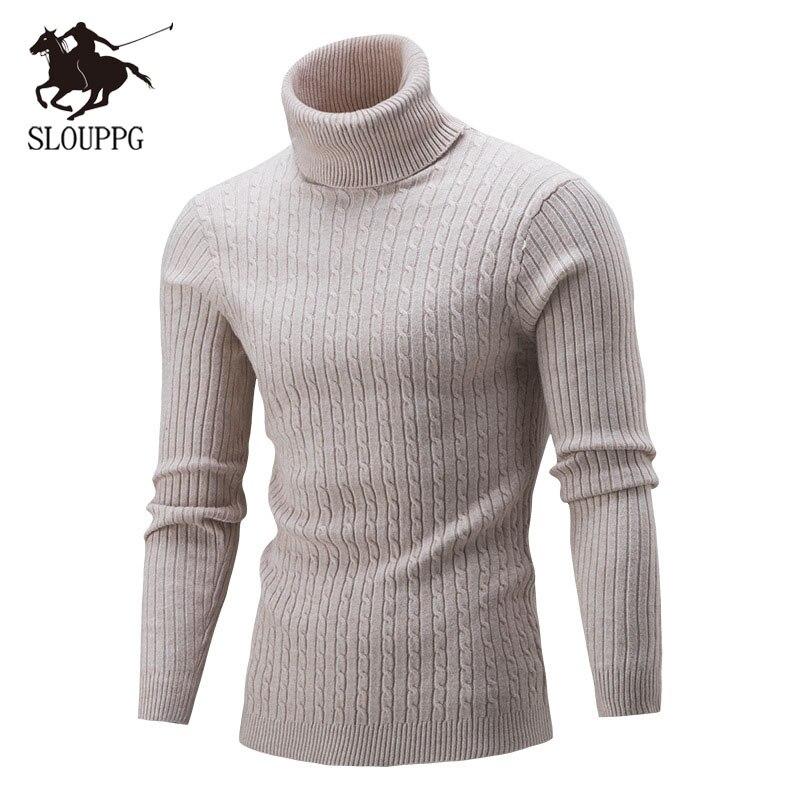 2019 Autumn Winter High Neck Thick Warm Sweater Men Turtleneck Brand Mens Sweaters Slim Fit Pullover Men Slim Fit  Men's Sweater