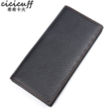 Full-Grain Cow Leather Long Wallet for Men Ultra-thin Casual Credit Card Holder RFID Coin Purse Business Clutch Men's Wallets men wallet leather credit card photo holder billfold purse business clutch dec07