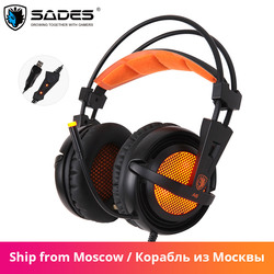 Sades A6 Wired Gaming Headset Gamer Headphones 7.1 Surround Sound Stereo Earphones USB Microphone Breathing LED Light PC Gamer