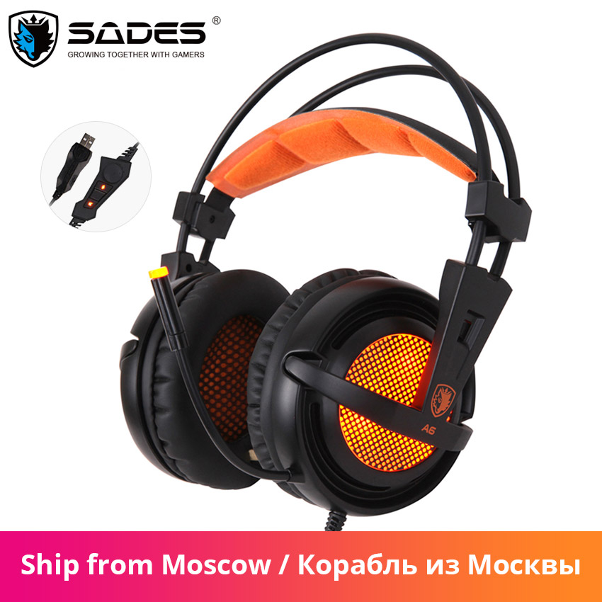 Sades A6 wired Gaming Kopfhörer Headset 7,1 Surround Sound Stereo <font><b>USB</b></font> Gamer Headset Mikrofon Atmen LED Licht für PC Gamer image