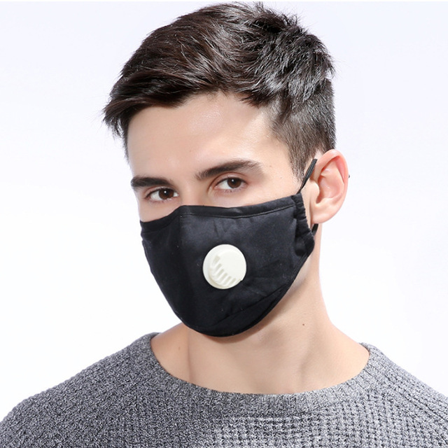 4PCS Reusable Washable Cotton Mask Breathing Valve PM2.5 Anti-Dust Face Mask Unisex Replaceable Filter 5-layer Protective Filter 1