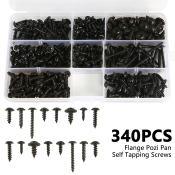 215/340/500pcs Pan Head Tapping Screw Cross Head M3/M4/M4.8 Self Tapping Screw Set Assortment Kit Black Furniture Carbon Steel 1
