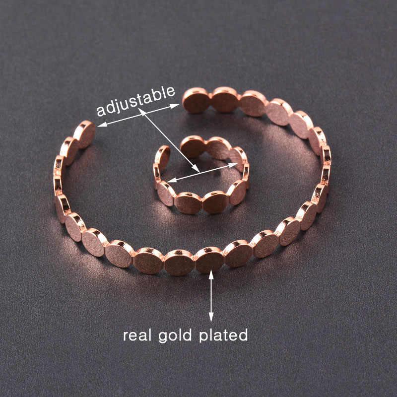 SINLEERY Simple cercle rond réglable Bracelet à breloques femmes anneaux couleur or Rose beau Bracelet anneau ensemble bijoux TZ073 SSI