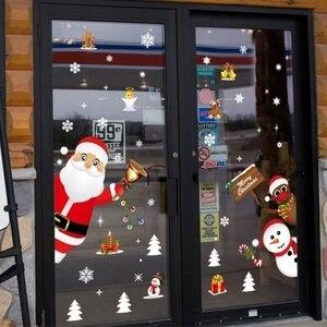 Image 4 - Cartoon Weihnachten Aufkleber für Fenster Schaufenster Abnehmbare Santa Klausel Schneemann Wohnkultur Aufkleber Adhesive PVC Neue Jahr Glas Wandbild