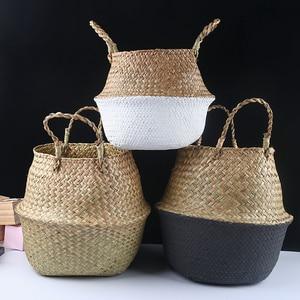 Image 5 - Handmadeไม้ไผ่ตะกร้าซักผ้าพับได้Straw PatchworkหวายSeagrass Bellyสวนดอกไม้หม้อPlanterตะกร้า
