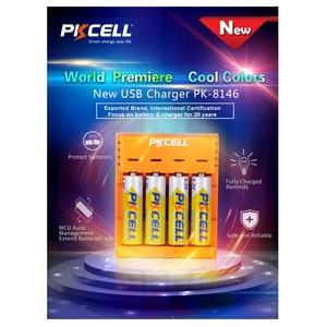 Image 2 - Pkcell Kleurrijke Acculader 4 Slots Voor Nimh/Nicd Aa Aaa Batterijen Usb Onafhankelijke Opladen