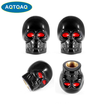 4Pcs/Set Universal Car Skull Style Antirust Copper Core Motorcycle Bike Car Wheel Tyre Tires Valve Stem Caps