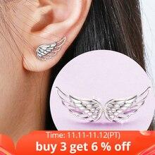 Strollgirl Echt 925 Sterling Zilveren Oorbellen 2020 Hollow Feather Fairy Wings Stud Oorbellen Voor Vrouwen Mode sieraden Geschenken