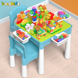 Kids Activity Table With 128 PCS Big Building Blocks Compatible Dupoled Educational Children Table Large Block Toys For Girl Boy