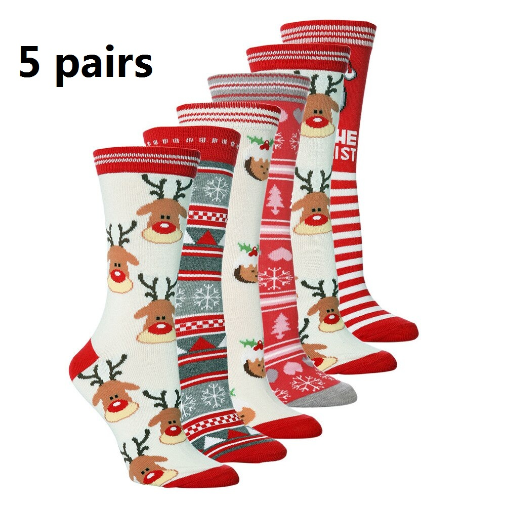 Cotton Christmas Socks 5pairs/set New 2019 Women And Men Autumn Winter New Year Santa Claus Streetwear Crew Funny Socks