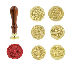 Vintage Wooden Wax Seal Copper Head Love For You Pattern Sealing Wax Stamps Head Fire Lacquer Tools Envelope Album DIY Decor