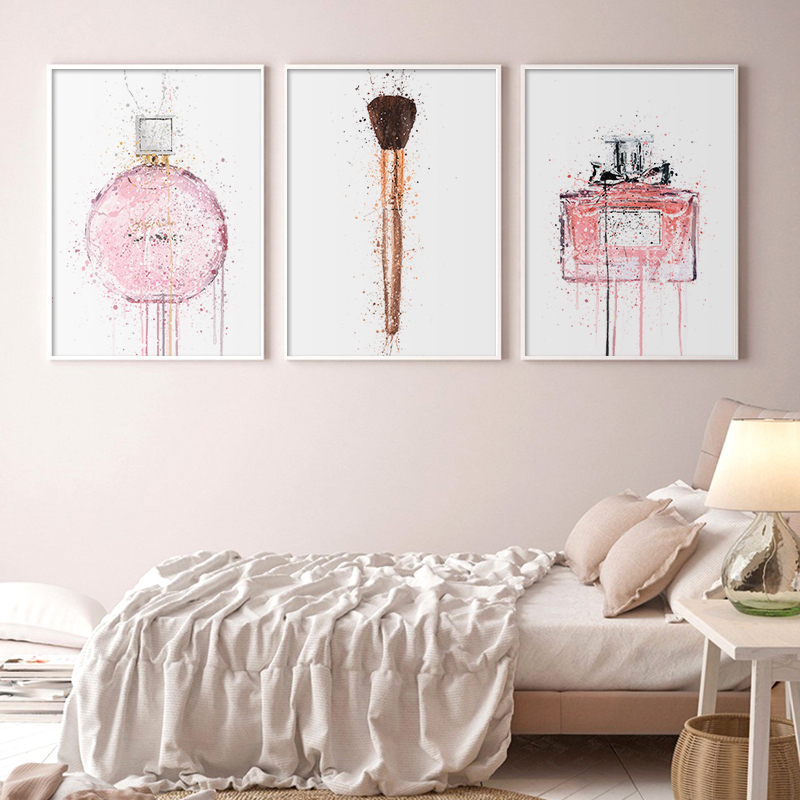 Watercolor Perfume Make Up Posters and Prints Beauty Lip Wall Art Print Lipstick Pictures Bedroom Decoration Home Decor