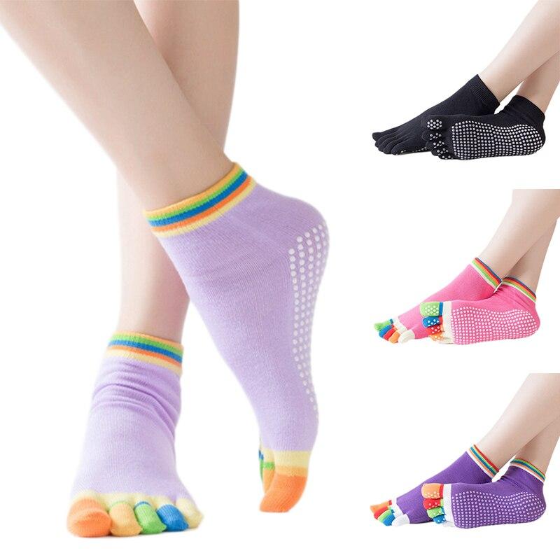 Женские нескользящие хлопковые носки (35-40/14 цветов) 5 пальцев с пупыришками