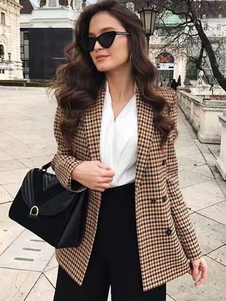 Female Blazer Jackets Suit Coat Work Plaid Business Slim Autumn Office Lady Talever Double-Breasted