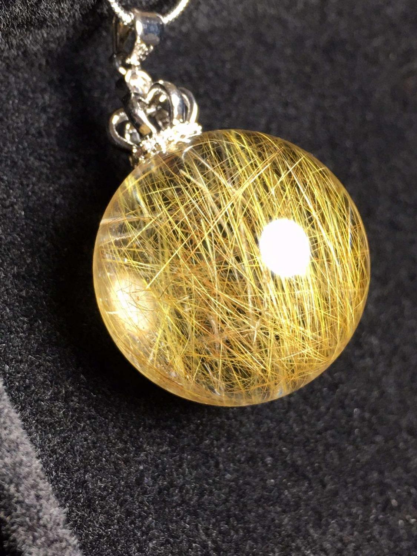 Natural Gold Rutilated Quartz Pendant Ball Sphere Titanium Gemstone AAAAA 24mm Crystal Stone Pendant