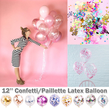 12 Transparent Round Confetti Paillette Balloon Colorful Latex Balloons Party  Wedding Birthday Festival Decoration D30